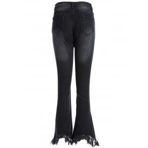Frayed Skinny Flare Jeans - BLACK 5XL