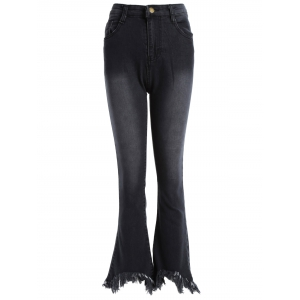 Frayed Skinny Flare Jeans