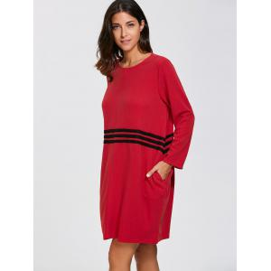 Striped Long Sleeve Oversized Dress - RED L