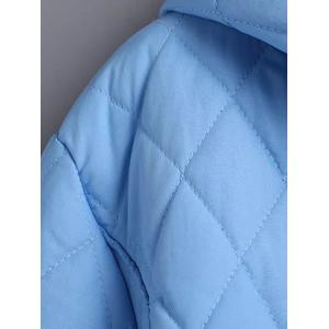 Plus Size Hooded Grid Quilted Coat -