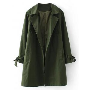 Plus Size Open Front Tied Up Wrap Coat - Army Green - 3xl