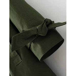 Plus Size Open Front Tied Up Wrap Coat - ARMY GREEN 3XL