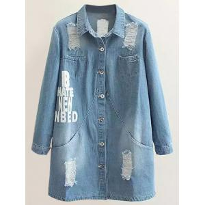 Plus Size Letter Print Distressed Denim Coat - Light Blue - 2xl