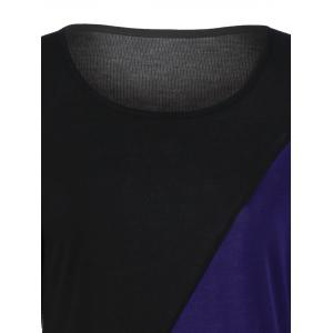 Color Block Asymmetrical Tee - BLUE AND BLACK XL