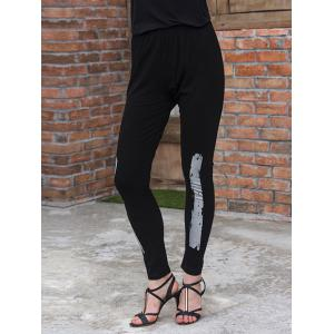 Slim Gilding Stretchy Leggings - Black - 3xl