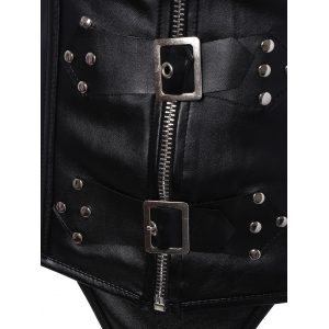 Zip Up Faux Leather Halter Corset -