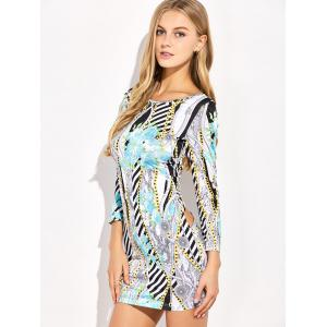 Long Sleeve Backless Print Club Dress - MULTICOLOR XL