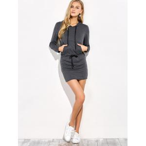 Mini Long Sleeve Hoodie Dress - GRAY XL