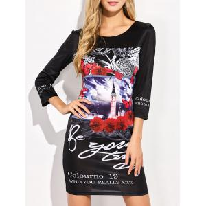 Floral Printed Fitted T-Shirt Mini Dress