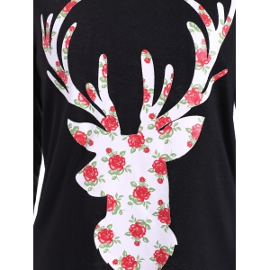 Christmas Cute Long Sleeve Graphic T-Shirt - BLACK M