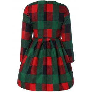 Long Sleeve Plaid Slimming Dress - GREEN XL