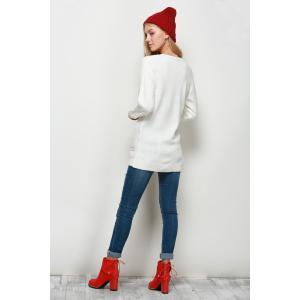 Letter Jacquard Crew Neck Christmas Sweater - WHITE 2XL