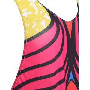 Open Back Print One Piece Tank Swimsuit - RED ONE SIZE