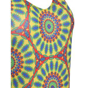Open Back Mandala One Piece Tank Swimsuit -
