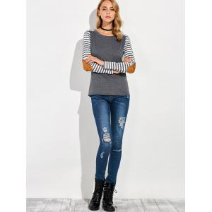 Round Collar Stripe Print Patchwork T-Shirt -