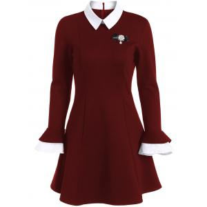 Mini Color Block Fit and Flare Dress - Burgundy - L