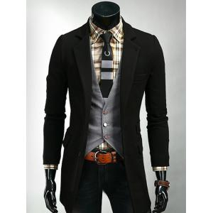 Single Breasted Flap Pocket Design Lapel Coat