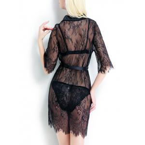 Sheer Tied Up Lace Wrap Sleepwear -