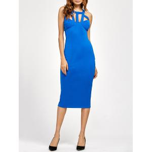 Cut Out Bandage Tea Length Bodycon Dress - Blue - Xl