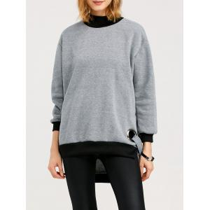 High Neck High Low Slit Sweatshirt - Gray - Xl