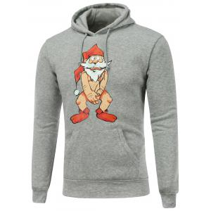 Hooded Long Sleeve Bare Father Christmas Print Hoodie