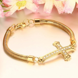 Stainless Steel Gold Plated Cross Rhinestone Bracelet - GOLDEN