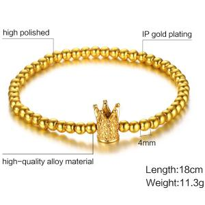 High Polished Crown Beaded Charm Bracelet -