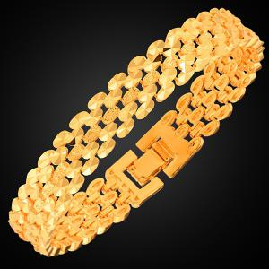 Gold Plated Disk Hollow Out Bracelet -
