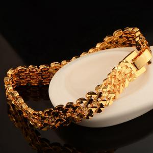 Gold Plated Disk Hollow Out Bracelet - GOLDEN