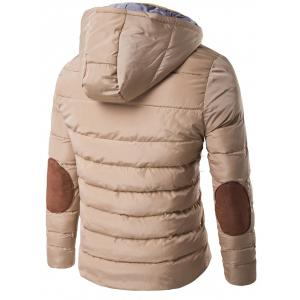 Horn Button Hooded Zip Up Elbow Patch Down Jacket -