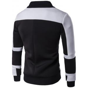 Stand Collar Color Block Insert Design Zip Up Jacket - BLACK 3XL