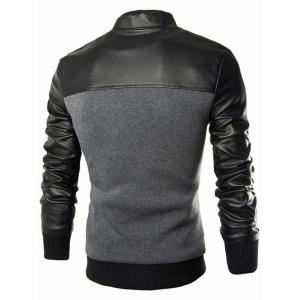 PU Leather Splicing Design Stand Collar Single Breasted Jacket - DEEP GRAY 3XL