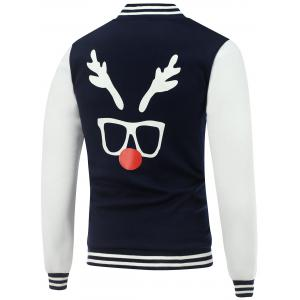 Stand Collar Christmas Deer Horn Print Color Block Baseball Jacket