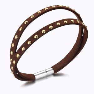 Punk Artificial Leather Rivets Bracelet - Brown
