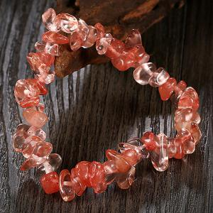 Natural Stone Strand Bracelet - WATERMELON RED