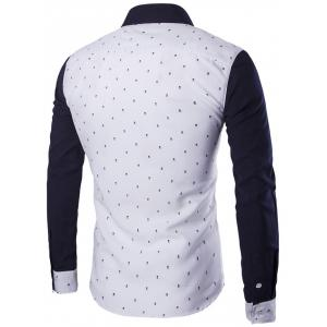 Turndown Collar Skull Print Color Block Spliced Shirt - WHITE M