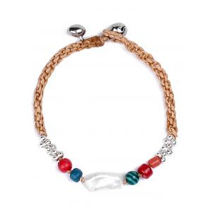Natural Stone Braid Artificial Leather Bracelet