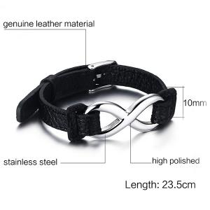 Artificial Leather Infinity Bracelet - BLACK