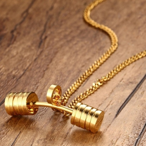 Stainless Steel Barbell Pendant Necklace - GOLDEN