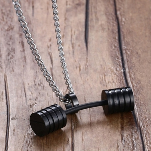 Stainless Steel Barbell Pendant Necklace -