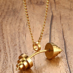 Dumbbell Shape Stainless Steel Pendant Necklace -