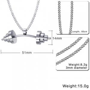 Dumbbell Shape Stainless Steel Pendant Necklace - SILVER