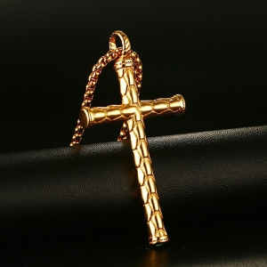 Scale Embossed Cross Pendant Necklace -