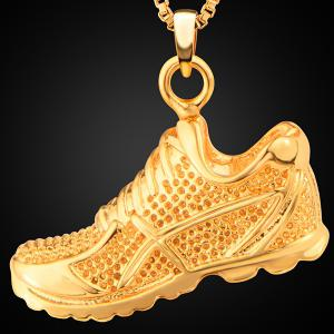 Sport Shoes Shape Zircon Pendant Necklace - GOLDEN