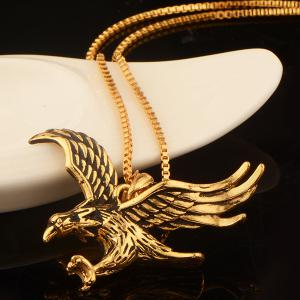 Vintage Engraved Eagle Pendant Necklace -