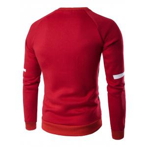 PU Leather Splicing Design Crew Neck Raglan Sleeve Sweatshirt - RED 3XL