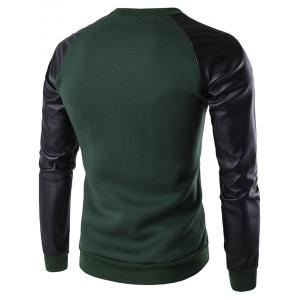 PU Leather Spliced Flocking Crew Neck Raglan Sleeve Sweatshirt -