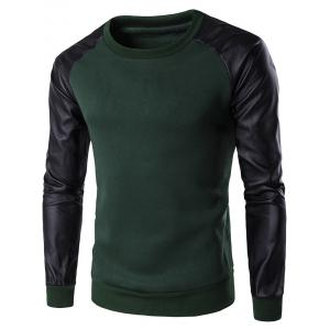 PU Leather Spliced Flocking Crew Neck Raglan Sleeve Sweatshirt