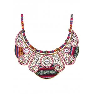 Rhinestone Floral Fake Collar Necklace -
