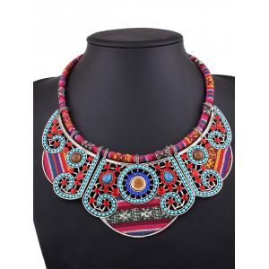 Rhinestone Blossom Fake Collar Necklace